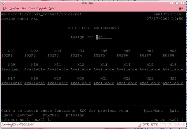 Paradyne 9161 FXO Screenshot